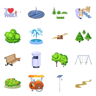 Ilustración de vector de icono de paisaje y parque. conjunto de paisajes y naturaleza.