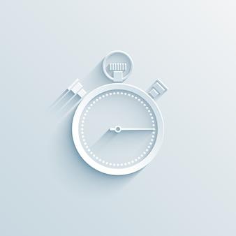 Ilustración de vector de icono de papel de cronómetro en blanco con concepto de negocio de sombra