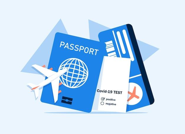 Ilustración de vector de icono de pasaporte y boleto de avión