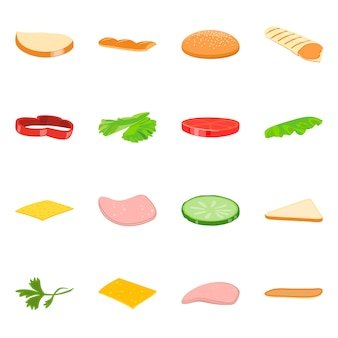 Ilustración de vector de icono de sandwich y comida. set de sandwich y hamburguesa