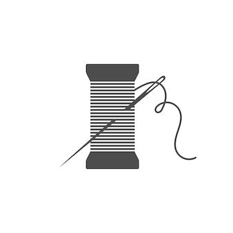 Ilustración de vector de icono de silueta de carrete y aguja silueta de bobina negra con aguja de contorno y