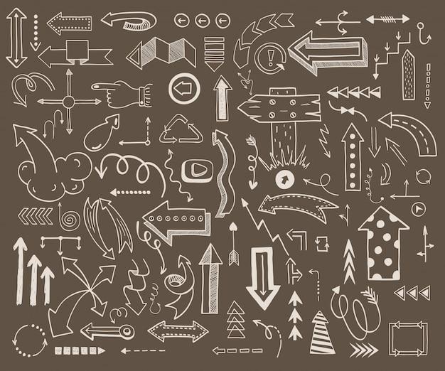 Ilustración del vector de los iconos de flecha boceto dibujados a mano doodle estilo dibujado a mano.
