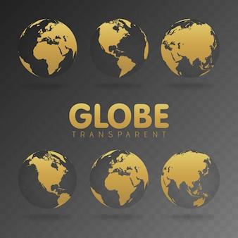 Ilustración de vector de iconos de globo de oro con diferentes continentes