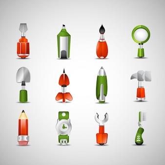Ilustración de vector de iconos de oficina y herramientas