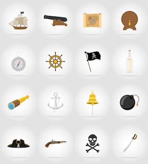 Ilustración de vector de iconos planos pirata