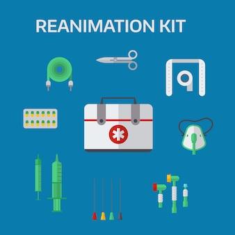 Ilustración de vector de iconos de reanimación de ambulancia