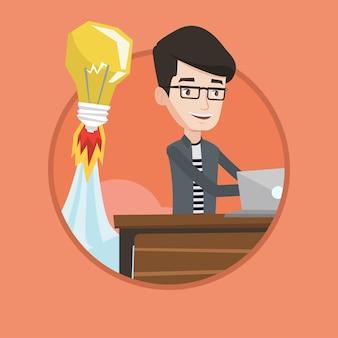 Ilustración de vector de idea de negocio exitoso.