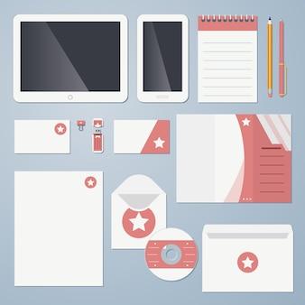 Ilustración de vector de identidad corporativa de diseño plano