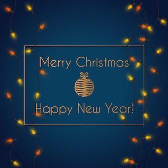 Ilustración de vector de iluminación de guirnalda de luces de navidad brillante colorido con feliz navidad