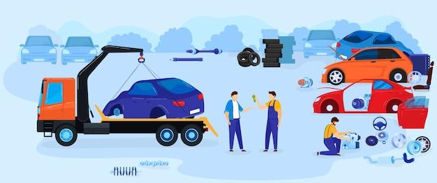 Ilustración de vector de ilustración de vector de depósito de chatarra de volcado de coche, paisaje de patio de chatarra plano de dibujos animados con coche viejo para reciclaje