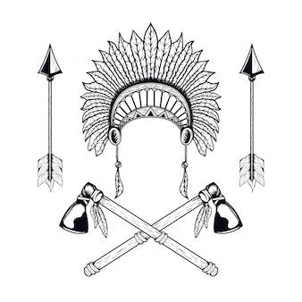 Ilustración de vector de indio americano