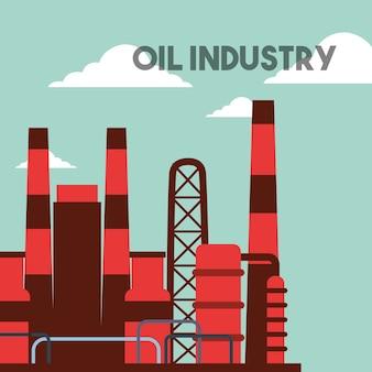 Ilustración de vector de industria de aceite de edificios de planta de fábrica