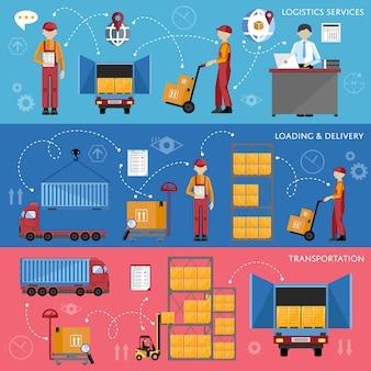 Ilustración de vector de infografía de proceso logístico
