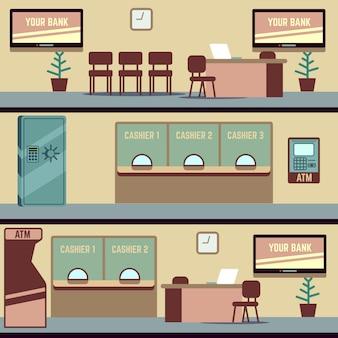 Ilustración de vector interior de la oficina de banco vacío