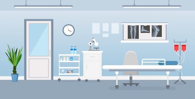 Ilustración de vector de interior de la sala de hospital con herramientas médicas, cama y mesa. habitación en el hospital en estilo plano de dibujos animados.