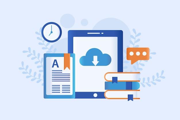 Ilustración de vector de internet y aprendizaje