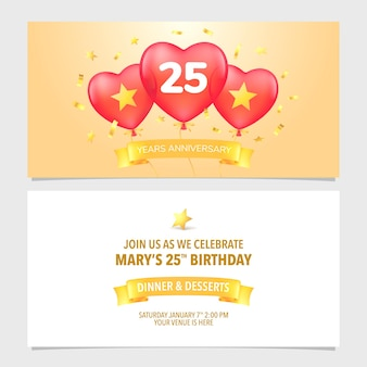Ilustración de vector de invitación de aniversario de 25 años