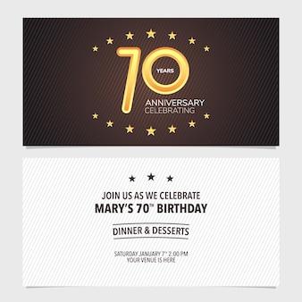 Ilustración de vector de invitación de aniversario de 70 años
