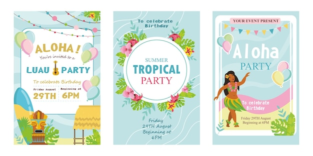 Ilustración de vector de invitaciones de fiesta tropical creativa.