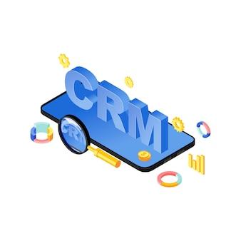 Ilustración de vector isométrica de la aplicación del sistema crm móvil