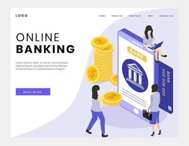 Ilustración de vector isométrica de banca en línea