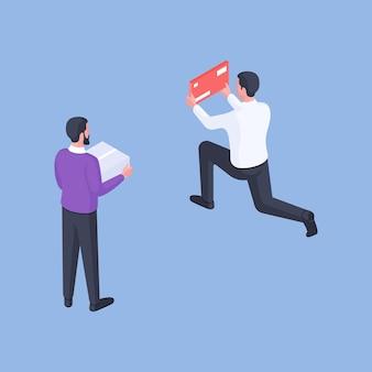 Ilustración de vector isométrica de chicos contemporáneos mínimos con caja de cartón y sobre rojo mientras realiza envíos contra un fondo azul brillante