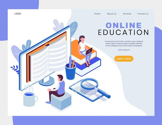 Ilustración de vector isométrica de educación en línea
