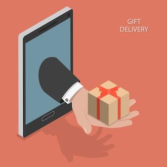 Ilustración de vector isométrica de entrega de regalo.