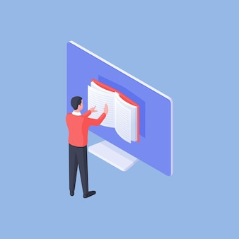 Ilustración de vector isométrica de estudiante masculino inteligente navegando y leyendo libros en línea en el monitor de la computadora durante los estudios sobre fondo azul
