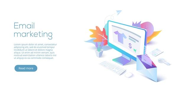 Ilustración de vector isométrica de marketing por correo electrónico