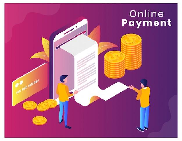 Ilustración de vector isométrica de pago en línea