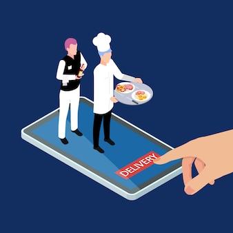 Ilustración de vector isométrica de servicio de entrega móvil de alimentos y bebidas calientes frescos