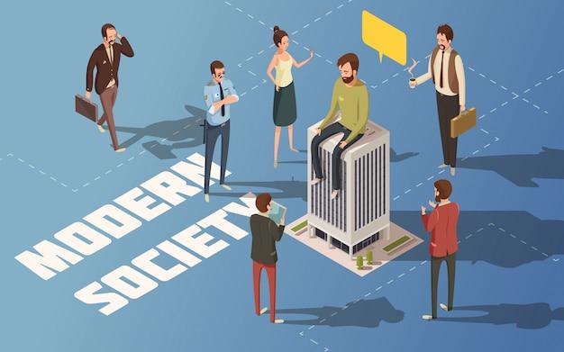 Ilustración de vector isométrica de la sociedad urbana moderna de personas masculinas y femeninas
