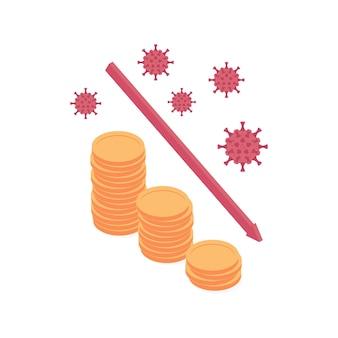 Ilustración de vector isométrico de crisis económica y financiera de coronavirus