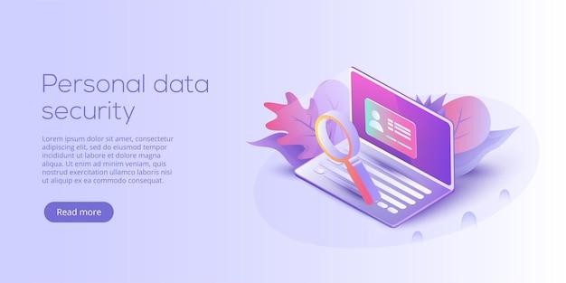 Ilustración de vector isométrico de seguridad de datos personales