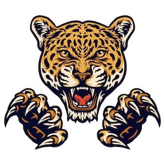 Ilustración de vector de jaguares y garras