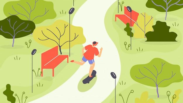 Ilustración de vector jogging en el parque de dibujos animados plana.