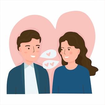 Ilustración de vector de la joven pareja de enamorados. concepto de san valentín