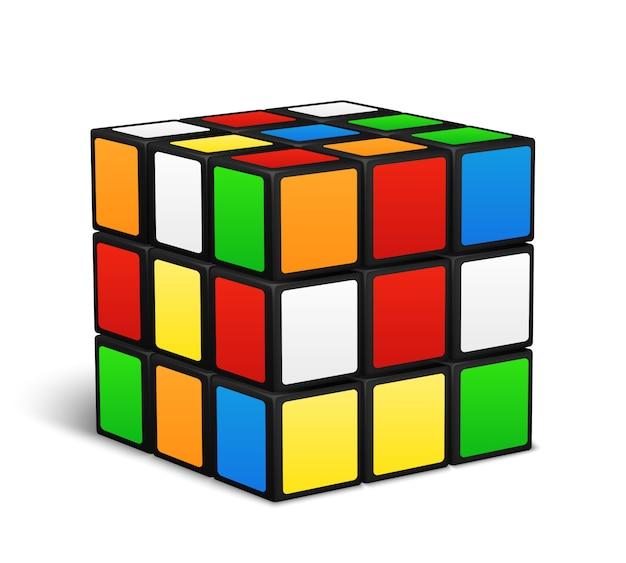 Ilustración de vector de juego de lógica de cubo de rubik