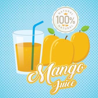 Ilustración de vector de jugo de mango fresco vintage