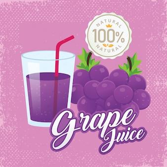 Ilustración de vector de jugo de uva fresca vintage