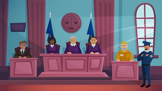 Ilustración de vector de justicia de tribunal de justicia.