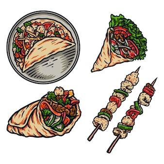 Ilustración de vector de kebab, línea dibujada a mano con color digital, ilustración vectorial