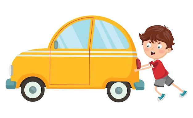 Ilustración de vector de kid pushing car