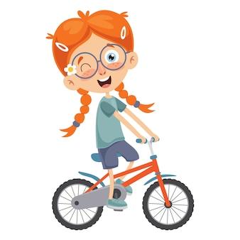 Ilustración de vector de kid riding bike