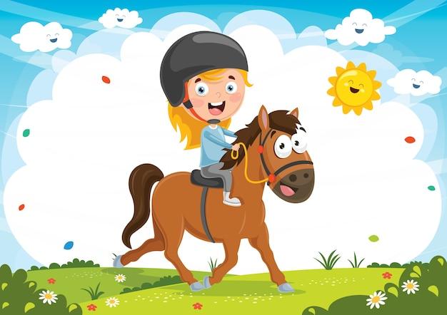 Ilustración de vector de kid riding horse