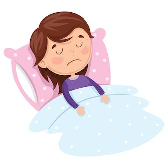 Ilustración de vector de kid sleeping