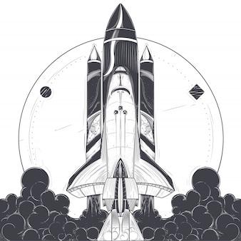 Ilustración de vector de un lanzamiento de cohete espacial.