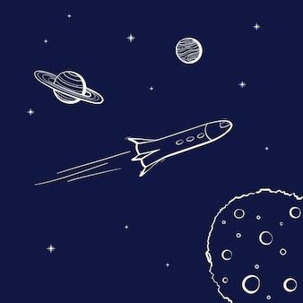 Ilustración de vector de lanzamiento de nave espacial. inicio de cohete. transbordador espacial de contorno de dibujos animados de doodle
