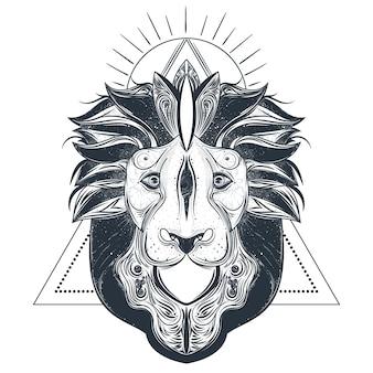 Ilustración de vector de león cabeza línea arte
